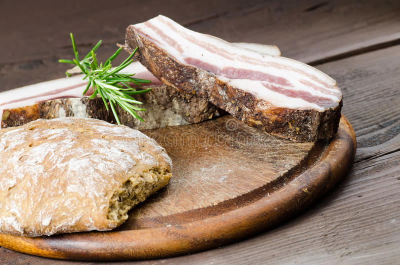 Download Italian smoked bacon stock photo. Image of bread, meat - 25168904