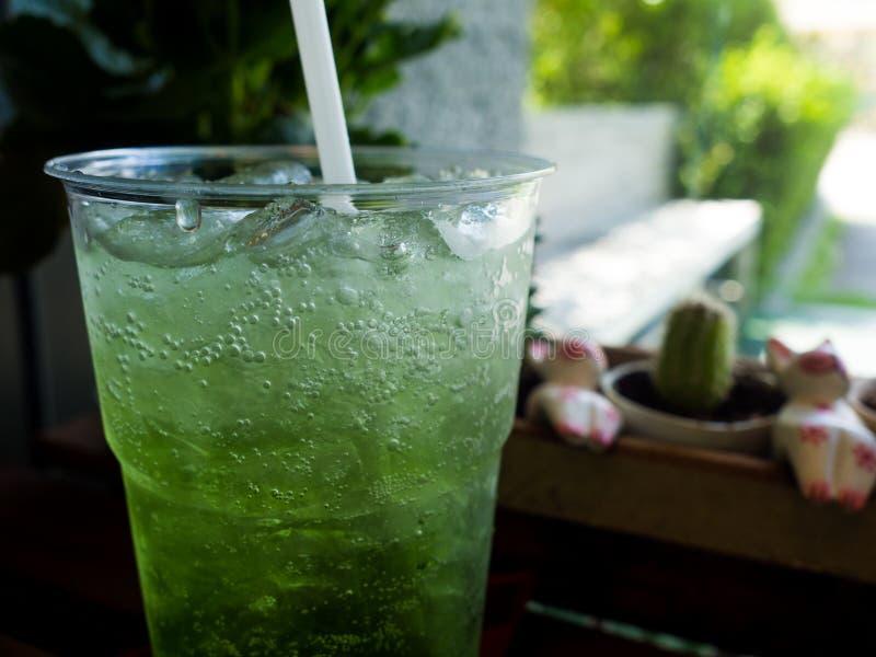 Italian Soda, kiwi soda with ice stock images