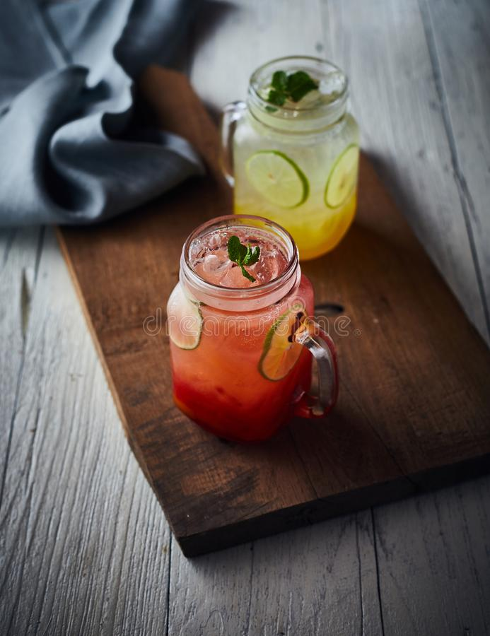 Italian Soda. Organic Fresh Italian Soda with Green Mint stock photography