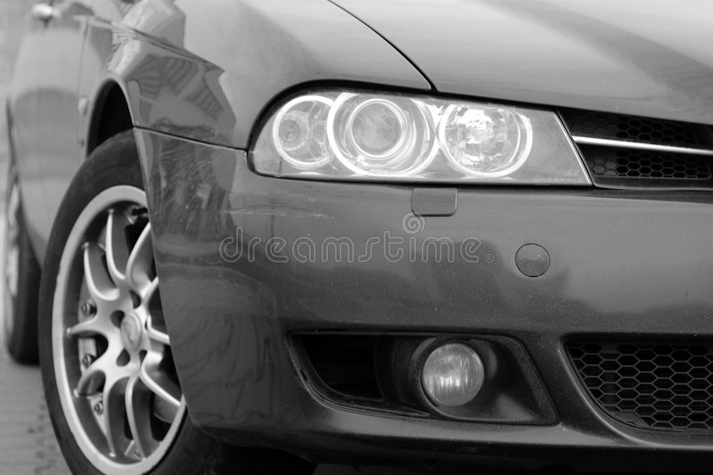 Italian sport car, front side, half stock photos