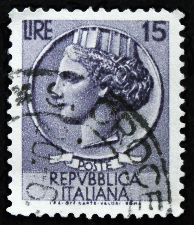 Italian stamp shows ancient coin of Syracuse, the series `Syracusean Coin`, circa 1968 royalty free stock images