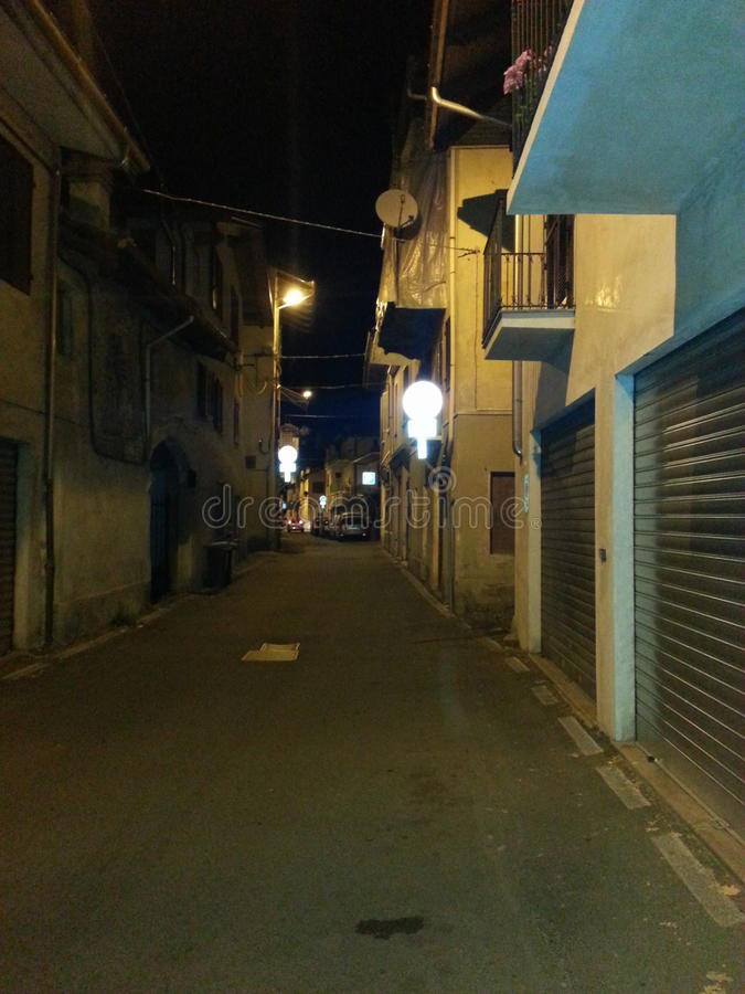 Italian Street Night Romantic stock image