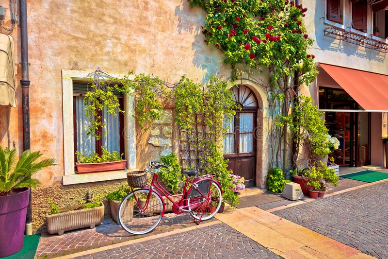 Italian street old architecture in Lazise. Town on Garda lake in Veneto region of Italy royalty free stock images
