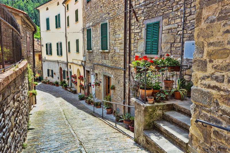 Italian street in a small provincial town of Tuscan. Typical Italian street in a small provincial town of Tuscan, Italy, Europe stock photos