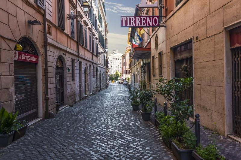 Rome/Italy - August 26, 2018: Italian Street Via di S. Martino Ai Monti, Tirreno Hotel Facade royalty free stock photography