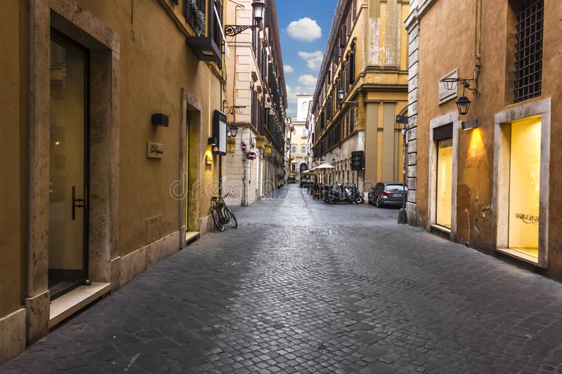 Rome/Italy - August 26, 2018: Italian Street Via Borgogna, empty in the morning royalty free stock photos