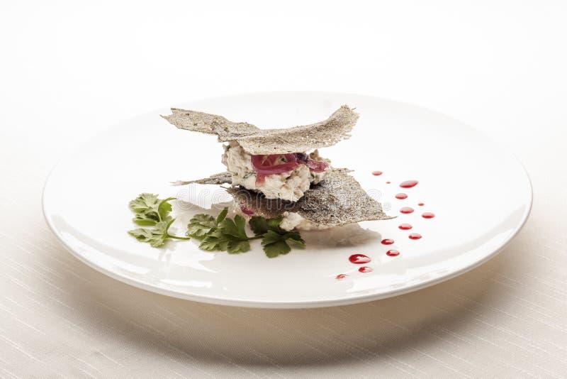 Creative Italian Cuisine: Creamy Cod Canape. Italian Style Creamy Cod Appetizer stock photo