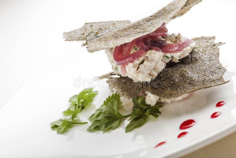 Creative Italian Cuisine: Creamy Cod Canape. Italian Style Creamy Cod Appetizer stock photos