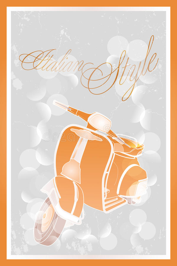 Italian style moped. Poster in retro look - available as jpg and eps-file stock illustration