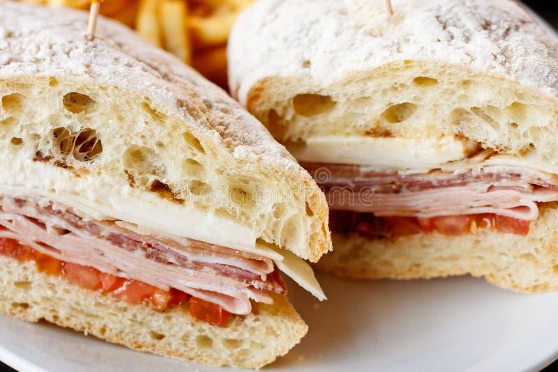 Italian Sub Sandwich on Fresh Baked Ciabatta Bread stock photography