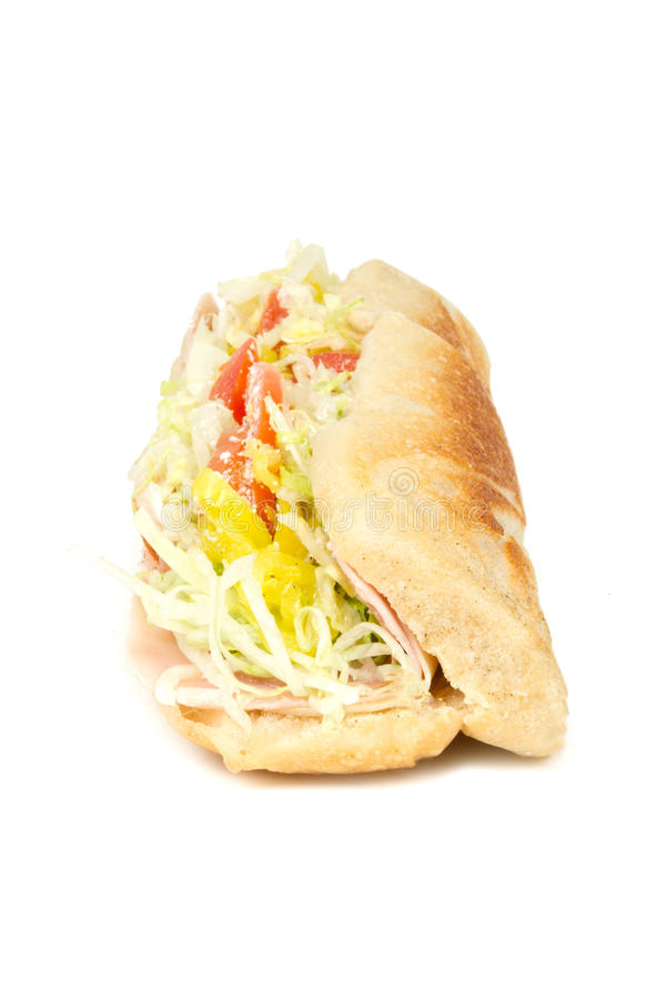 Italian Sub Sandwich with White Background stock photo