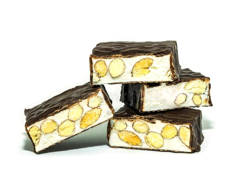 Italian sweets torrone on white background royalty free stock photography