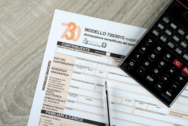 Italian 730 tax form, 2015 edition. Italian 730 tax form, empty spaces. 2015 edition royalty free stock images