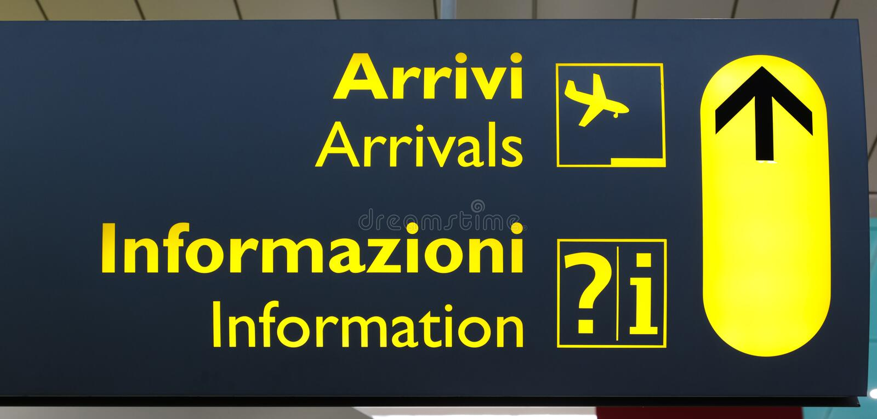 Italian Terminal Info Board. Airport information board in an Italian terminal royalty free stock image