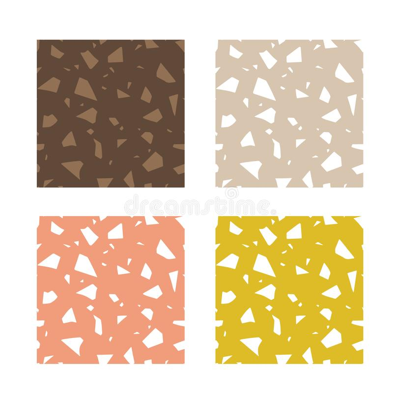 Free Italian Terrazzo, Set Of Abstract Seamless Patterns. Vector Paper Cut Handcrafted Colorful Textures. Royalty Free Stock Photos - 149055268