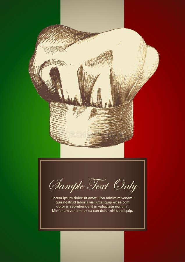 Italian Theme. Sketch illustration of a chef hat on Italian insignia background royalty free illustration