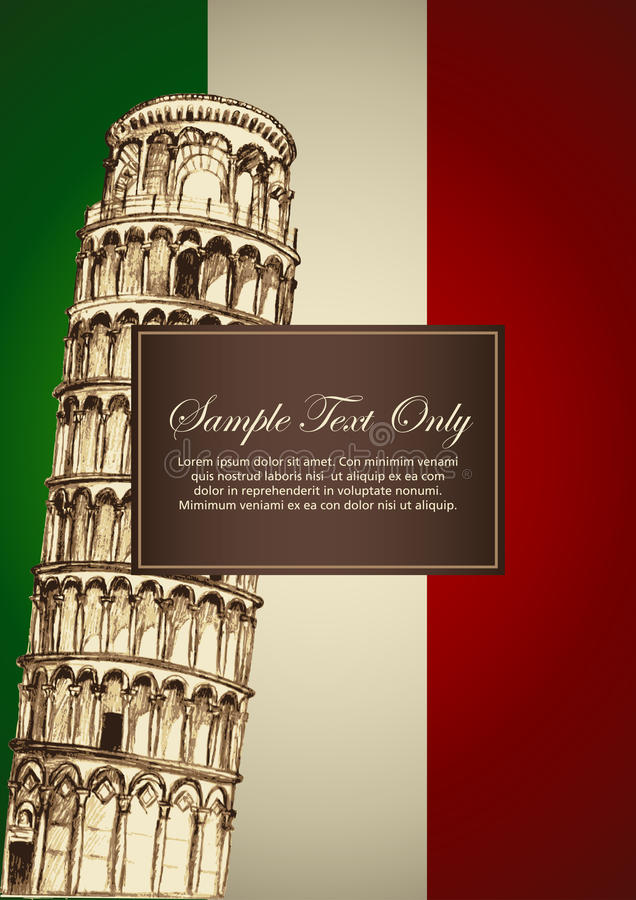 Italian Theme. Sketch illustration of Pisa leaning tower on Italian flag color, for book cover or menu design template vector illustration