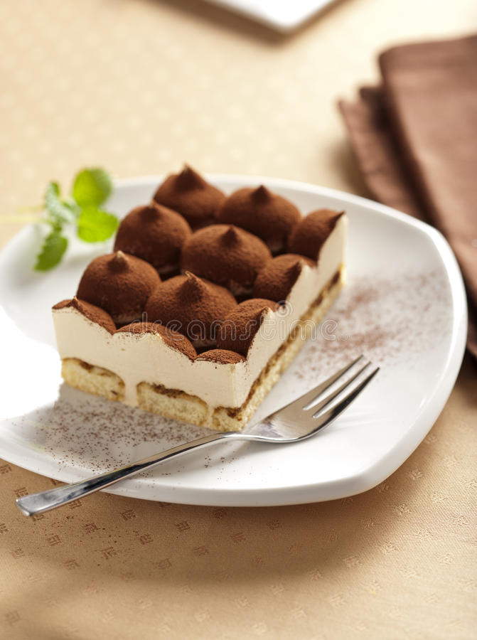 Italian tiramisu cake stock photos