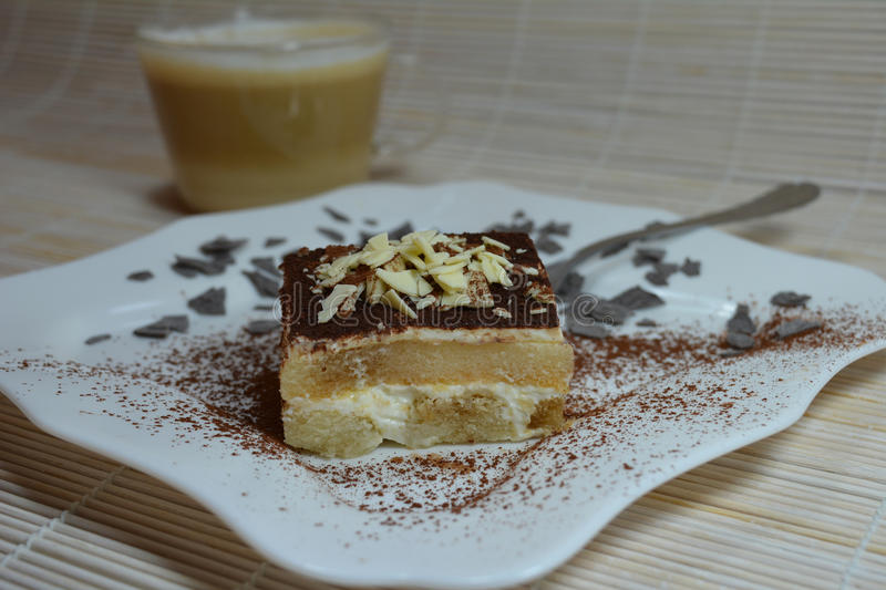 Italian Tiramisu Dessert With Coffee Cup stock photos