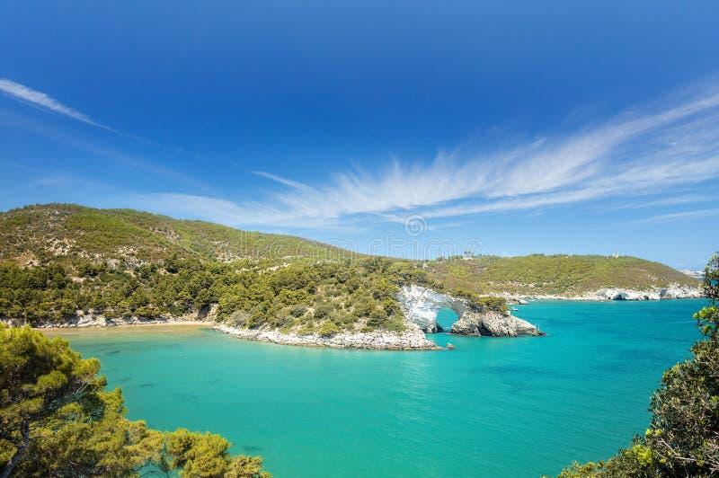 Italian touristic destination in Puglia - San Felice arch rock bay - Natural park Gargano with beautifulturquoise sea. Apulia,. Southern Italy, Europe royalty free stock photo