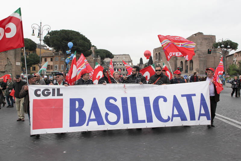 Download Italian Trade Unions Demonstrate In Rome Editorial Photo - Image: 24310016