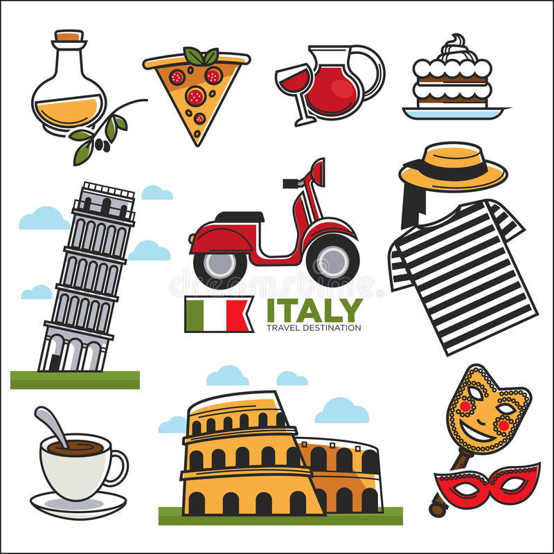 Italian Traditional Symbols Colorful Vector Set On White Stock