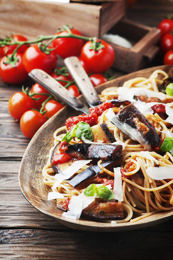 Italian traditional vegetarian pasta with eggplant royalty free stock photography