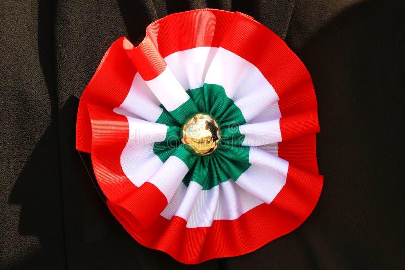 Italian tricolor cockade, original photo stock photo