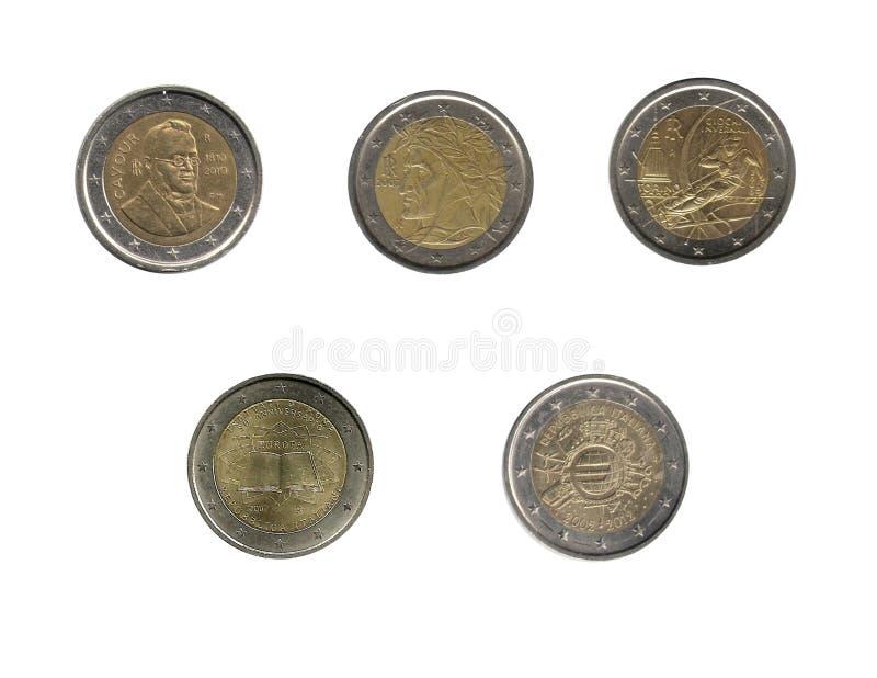 Italian two euro coins stock image