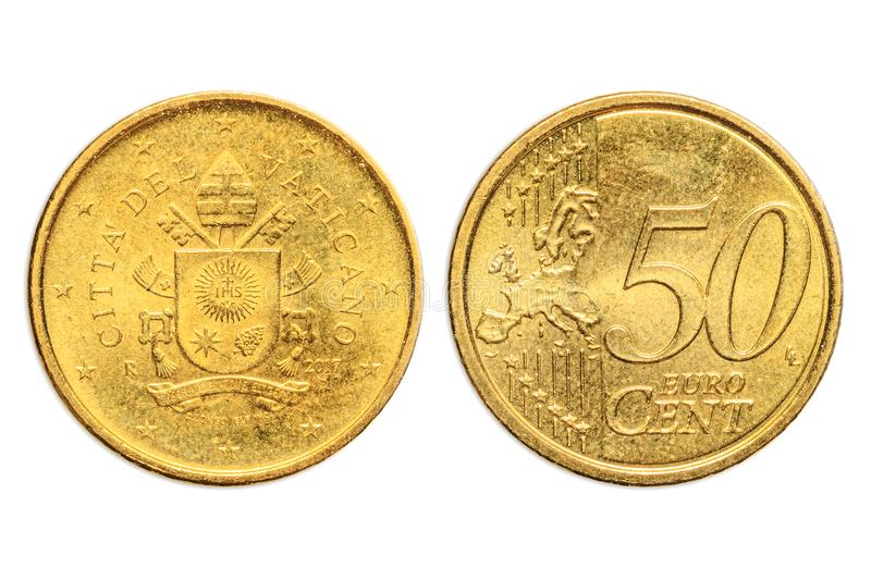 Vatican City double 50 cents. Italian two sides of the coin of 50 cents of euro close-up of Vatican City state in Italy. head and tail sides. Isolated on white royalty free stock image