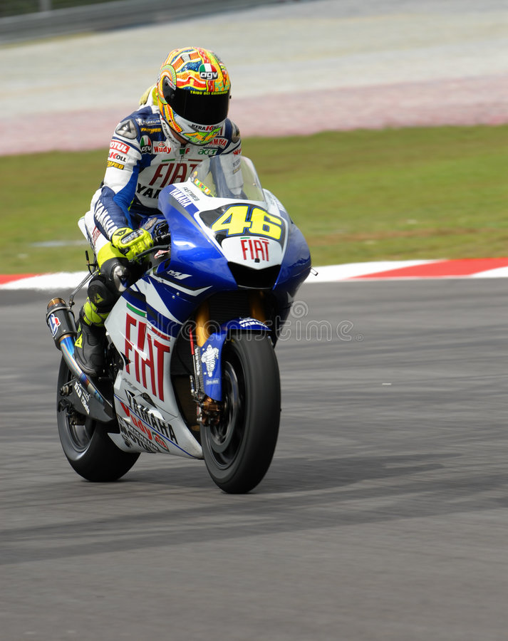 Italian Valentino Rossi Fiat Yamaha Team at 2007 P. Olini Malaysian Motorcycle Grand Prix Sepang Circuit Malaysia royalty free stock images