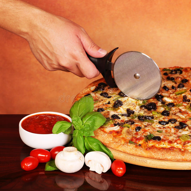 Italian Veggie Pizza with Vegetables royalty free stock image