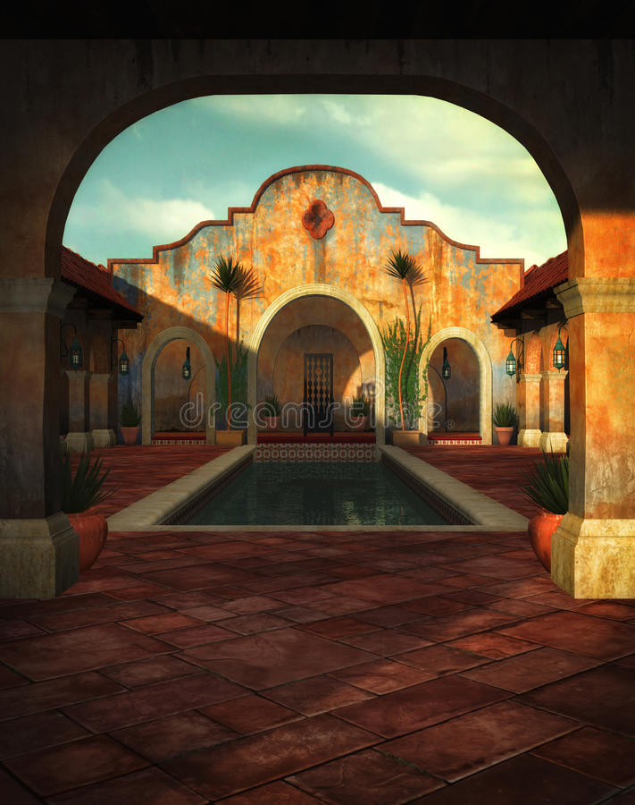 Italian Villa in 3D stock illustration