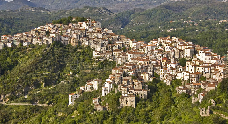 Italian village. Among south italy mountains stock photography