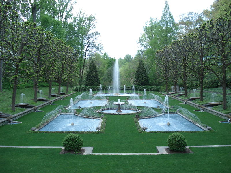 Italian water garden in longwood gardens stock photo for Jardines italianos