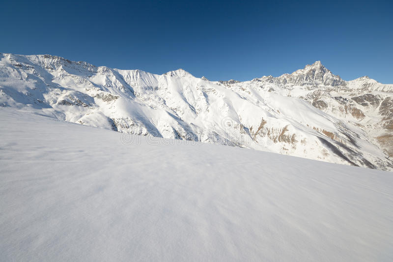 Italian western Alps in winter royalty free stock image