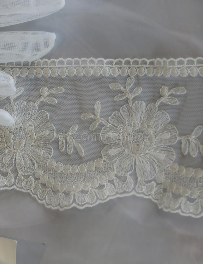 White floral lace. Italian white floral lace from Venice region royalty free stock image