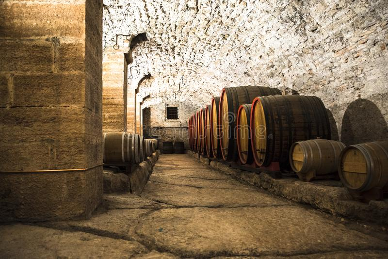 Italian wine cellar in barrels. In an old cellar of an ancient castle in the big barrels age Italian wine royalty free stock images