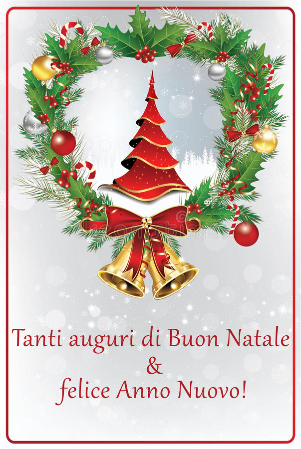 italian winter holiday greeting card merry christmas and happy new year italian language tanti auguri di buon natale felice anno nuovo - Merry Christmas In Italian Translation