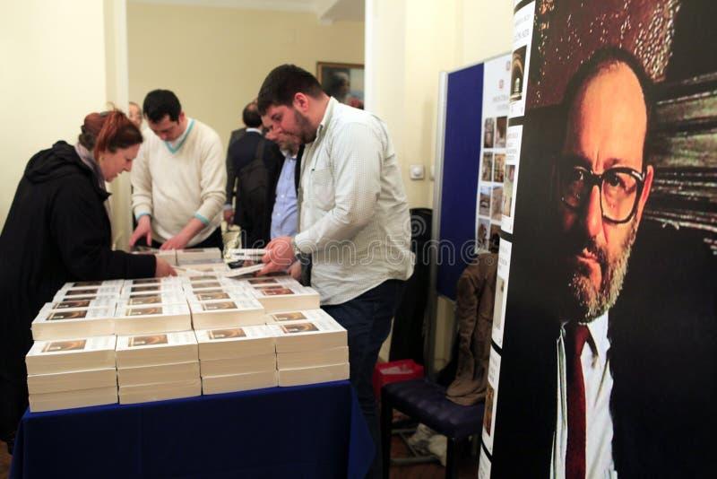 Italian writer Umberto Eco in Istanbul,Turkey stock photography