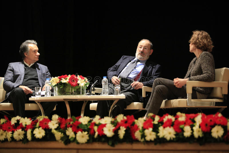 Italian writer Umberto Eco in Istanbul,Turkey royalty free stock images