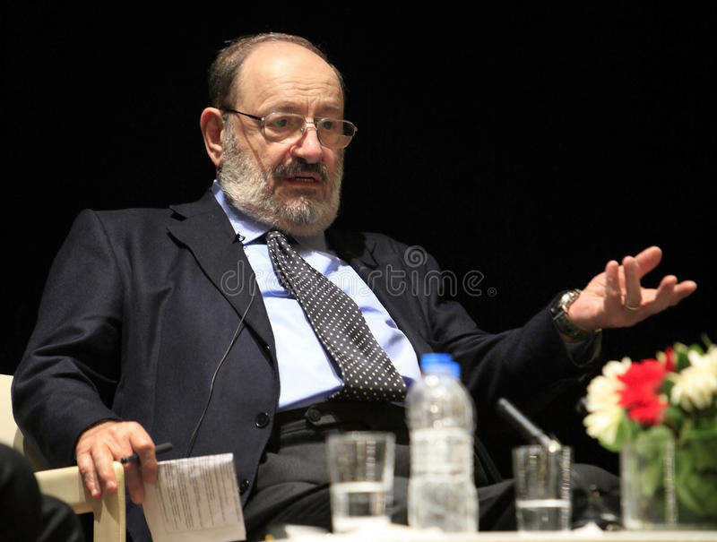 Italian writer Umberto Eco in Istanbul,Turkey royalty free stock photography