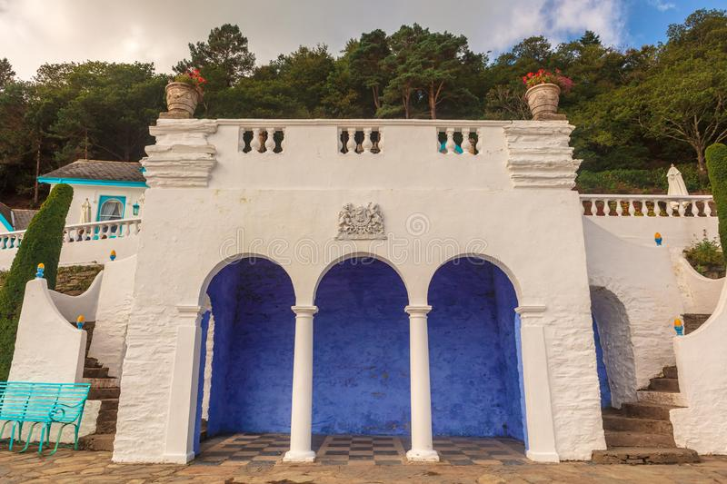Italianate architecture of the Portmeirion Village in Wales. Victorian details at the popular tourist resort of Portmeirion, North Wales, UK, the Italianate stock images
