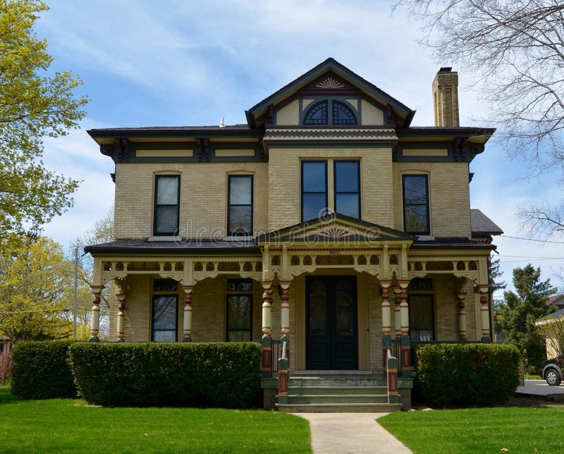 Italianate Architecture. This is a Spring picture of a house in Springfield, Illinois that is an example of the Italianate style of architecture. This picture stock photos