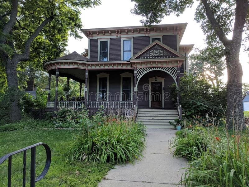 Italianate Style Architecture Historic Home. Mayor, Capitalist, Porter Peck& x27;s 1880 build Italianate Style home in the Cathedral Historic District of Sioux stock photography