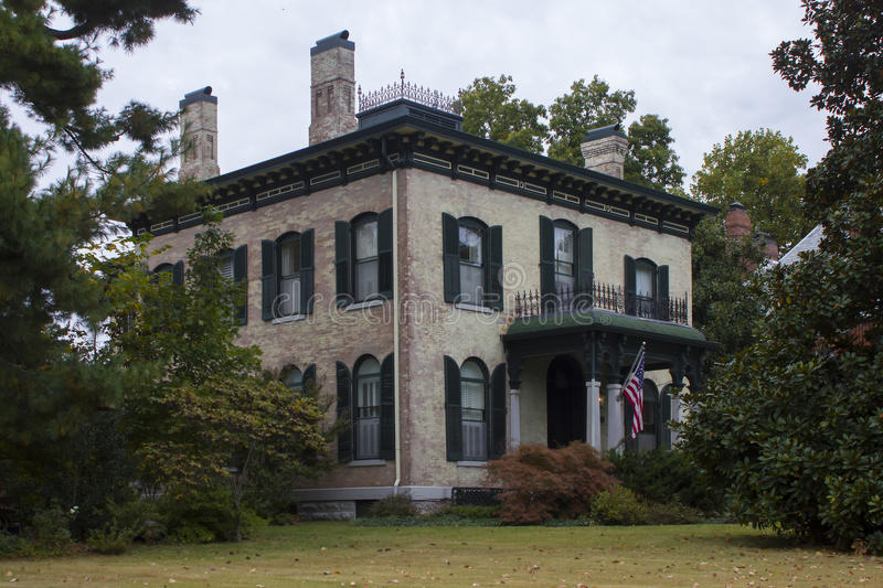 Italianate Style Historical Home. Beautiful historical Spencer House located in Carthage, Missouri, USA. Constructed in the Italianate style in 1872. Former royalty free stock photography