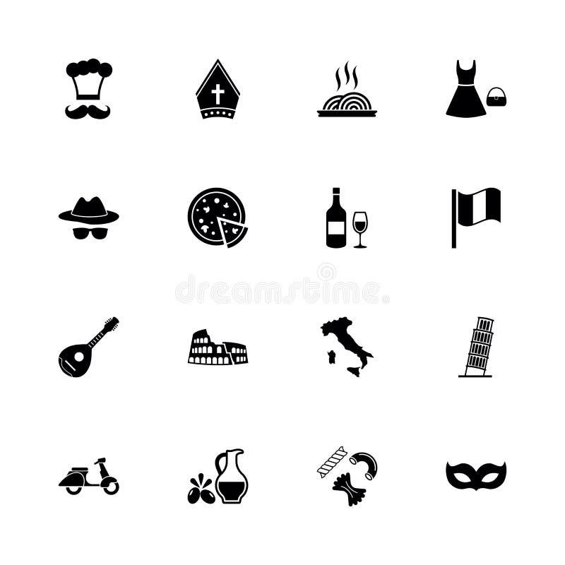 Italiano - ícones lisos do vetor ilustração do vetor