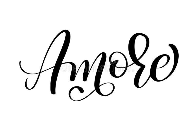 Italiano Amore walentynek dnia typografii ręka rysujący literowanie na białym tle Zabawa atramentu szczotkarska kaligrafia royalty ilustracja