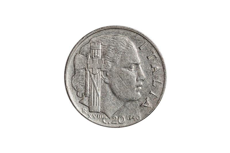 Italiano 20 centavos de la moneda de la lira imagenes de archivo