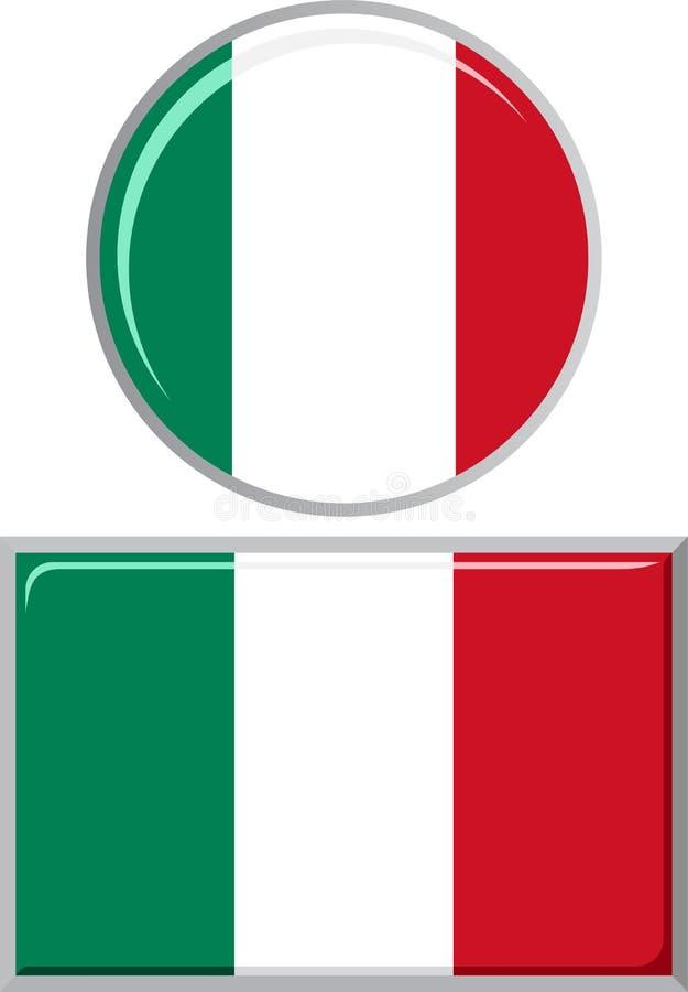 Italiano circularmente e bandeira quadrada do ícone Vetor ilustração stock